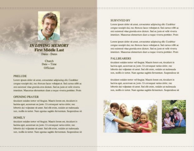 Funeral Service Bulletin 12 - Inside 2 pages