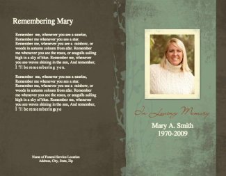 Funeral Program Template 1 - Back and Front Covers