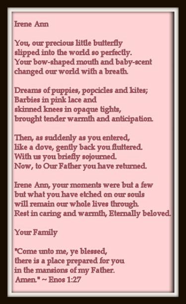 Baby funeral poem