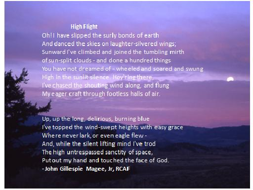 High Flight, The Poem read at Christine McAuliffe's funeral