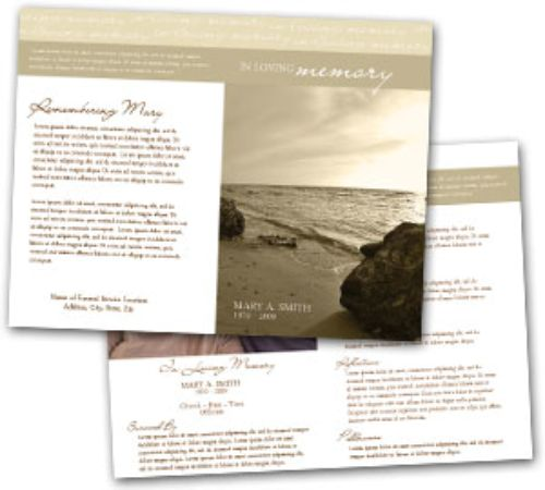 Funeral Program Template #4 Only $29