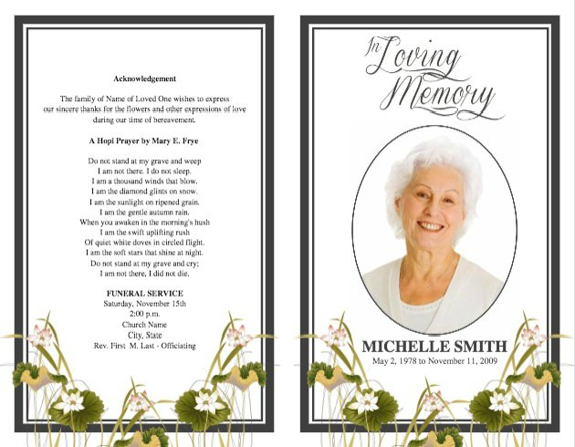 Funeral program template for Funeral brochure templates free