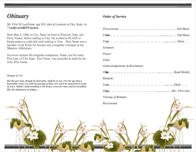 Funeral Program Template 14   Inside 2 Pages