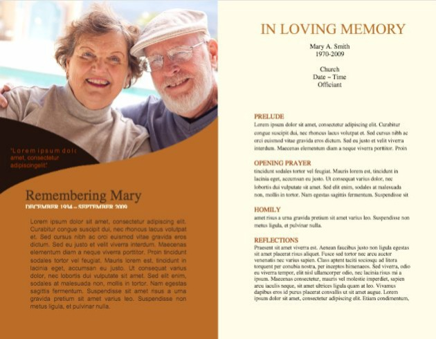 in loving memory template free - funeral program template