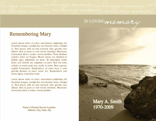Funeral Program Template 4 - Back and Front Covers