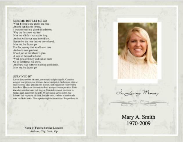 Funeral Program Template 5   Back And Front Covers  Memorial Pamphlet Template Free
