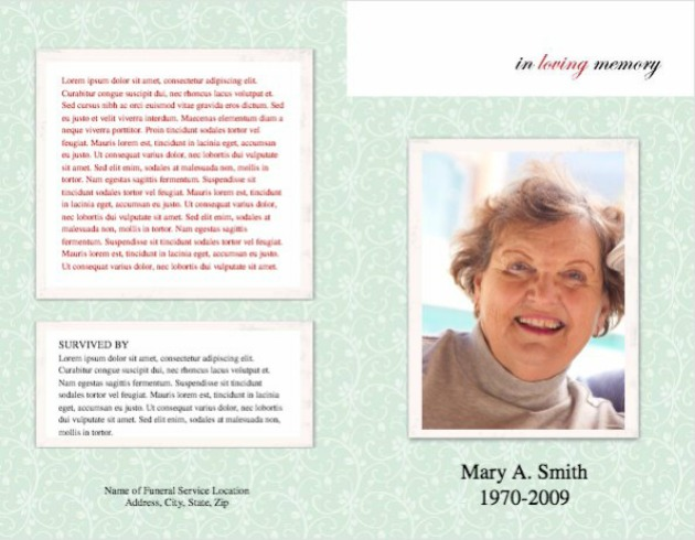 Funeral Program Template 6 - Back and Front Covers