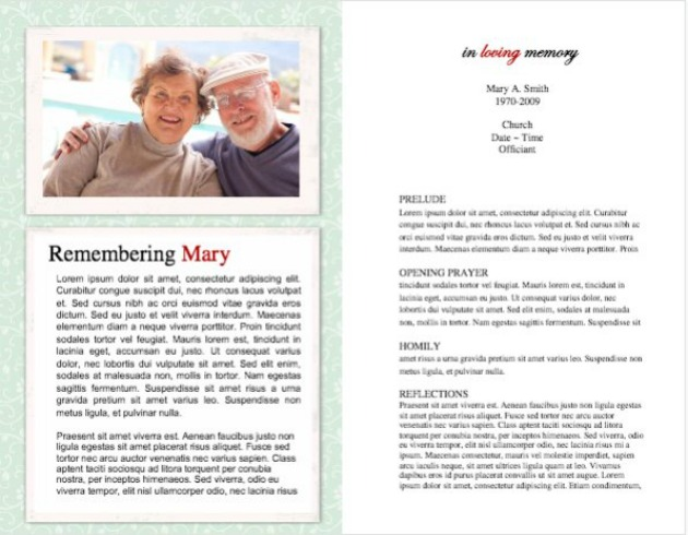 Funeral Program Template 6 - Inside 2 pages