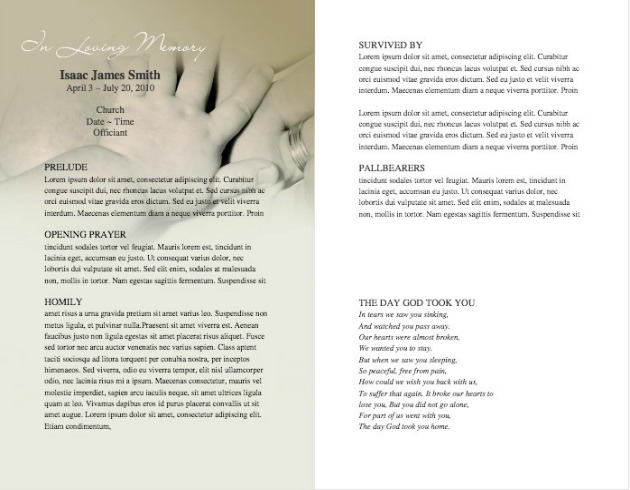 Child Funeral Template 7   Inside 2 Pages