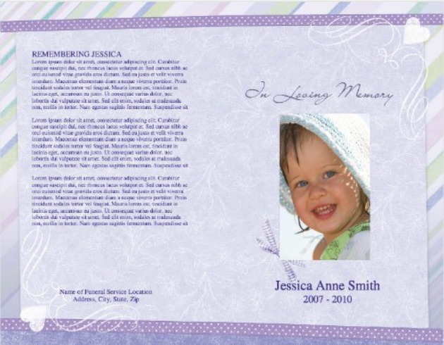Child Funeral Template 8   Back And Front Covers