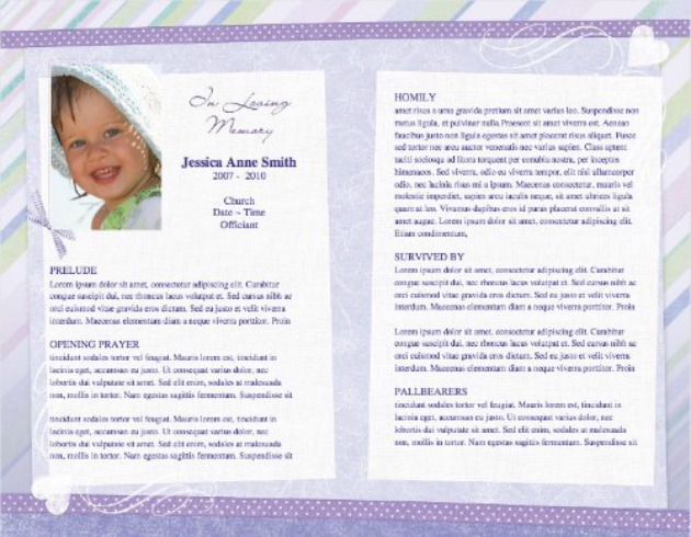 Child Funeral Template 8   Inside 2 Pages  Memorial Pamphlet Template Free