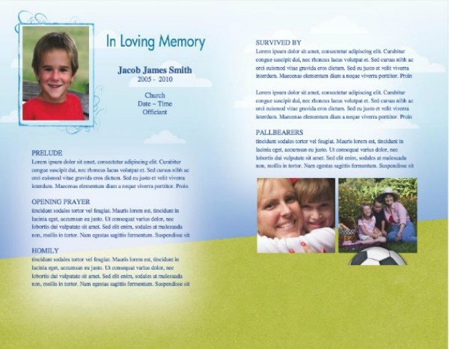 Child Funeral Template 9   Inside 2 Pages