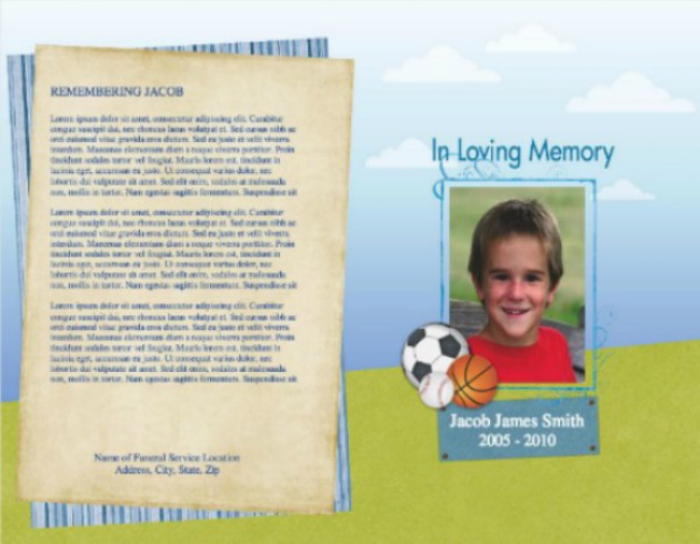 Beautiful Child Funeral Template 9   Back And Front Covers