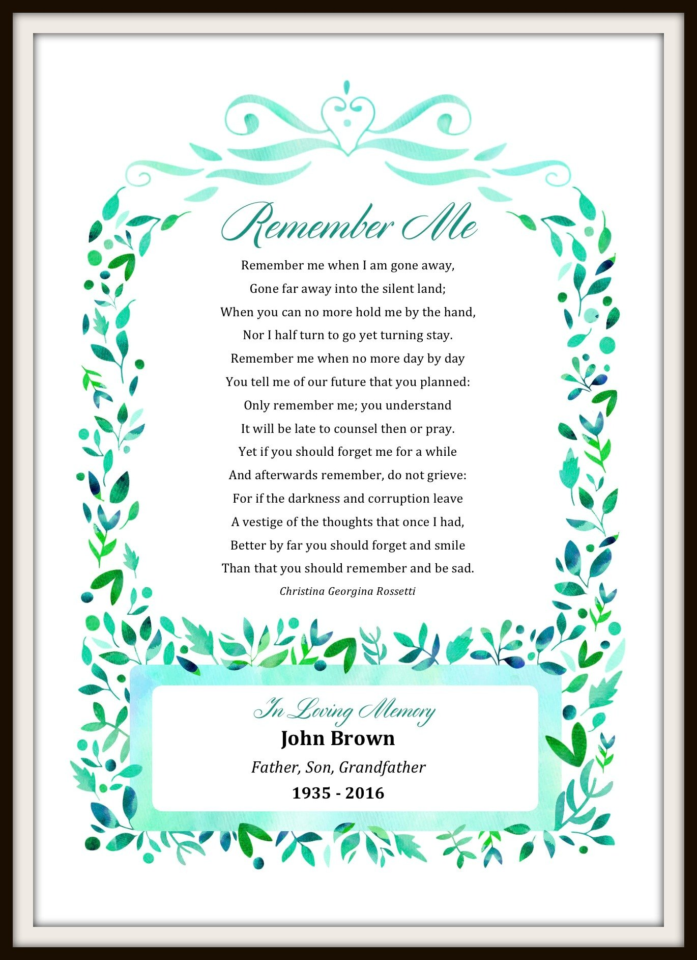 Personalized Remember Me Poem