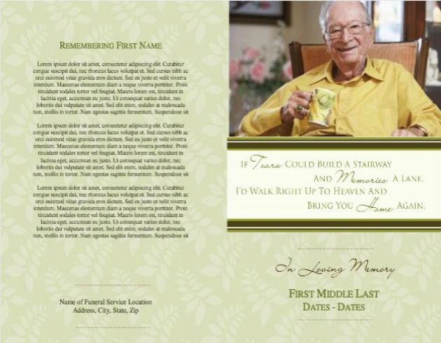 Funeral Service Bulletin 11 - Back and Front Covers