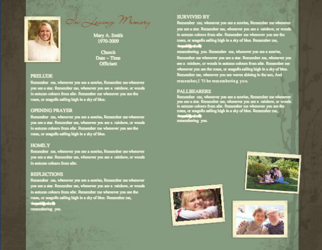 Funeral Program Template 1 - Inside 2 pages
