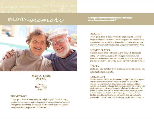 Funeral Program Template 4 - Inside 2 pages