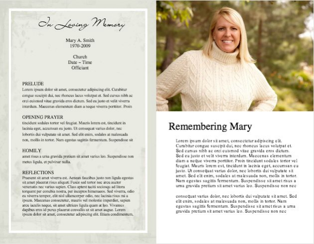 Funeral Program Template 5 - Inside 2 pages